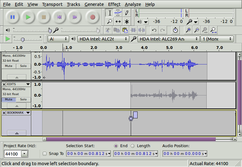 "After one ""punch & roll"". Notice that my Edits track is muted, so it doesn't distract me as I re-record."