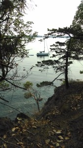 A sail craft moored at Obstruction Pass campgrounds.