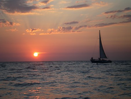Sea, Sailboat, Sunset